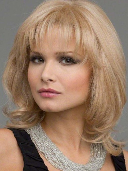 Women's Medium Hairstyles Light Color Layered Wavy Synhetic Hair Capless Wigs With Bangs 130% 16 Inches Wigs