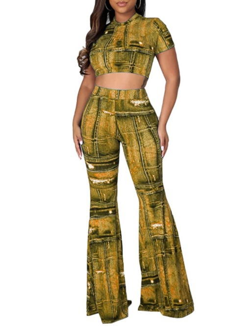 Pants Office Lady Print Pullover Women's Two Piece Sets