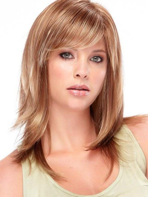 Medium Hairstyles Women's Blonde Slik Straight Synthetic Hair Wigs With Bangs Capless 16 Inches 130% Wigs