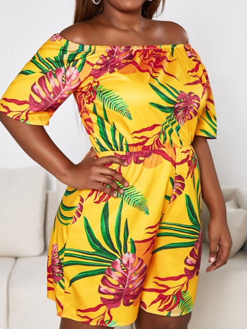 Plus Size Office Lady Shorts Floral Print Mid Waist Women's Rompers