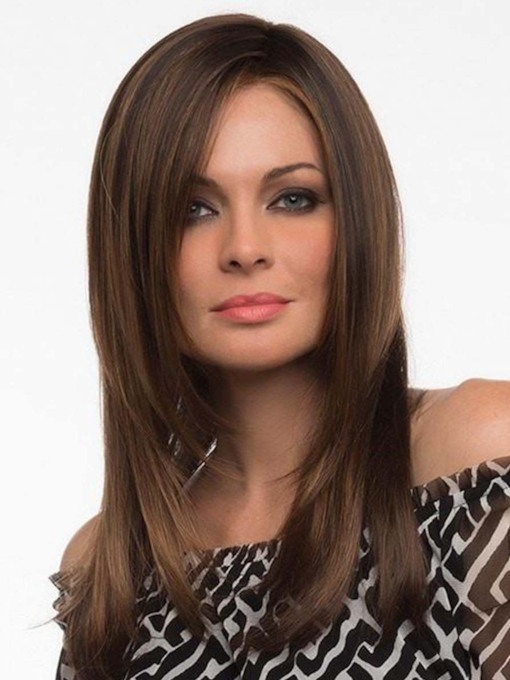 Natural Looking Women's Long Bob Hairstyles Straight Synthetic Hair Capless 130% 22 Inches Wigs