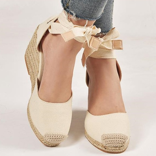 Lace-Up Heel Covering Wedge Heel Round Toe Color Block Sandals