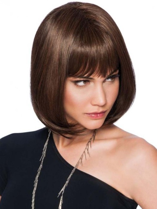 Women's Short Bob Bangs Hairstyles Straight Bob Synthetic Hair Capless 10 Inches 130% Wigs