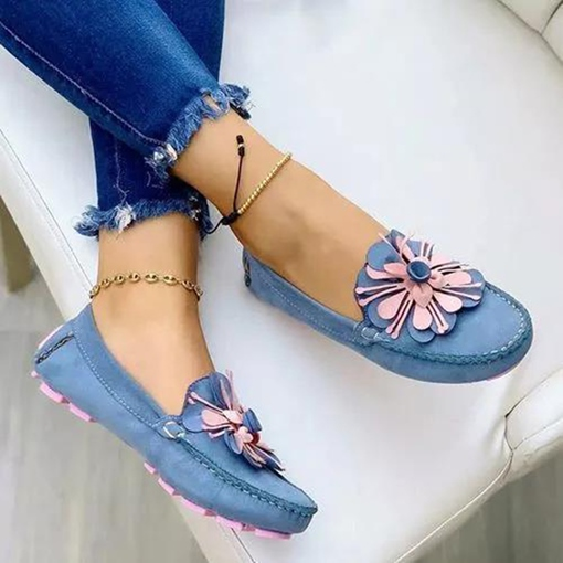 Round Toe Appliques Slip-On Color Block Thin Shoes