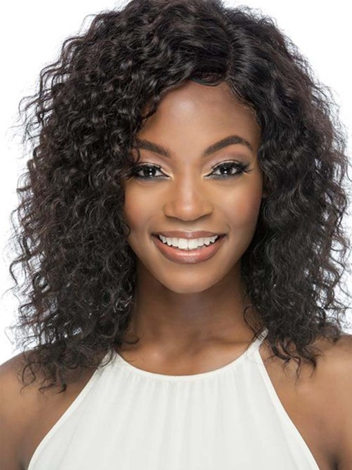 African American Women's Medium Layered Hairstyles Kinky Curly Human Hair Capless 120% 18 Inches Wigs