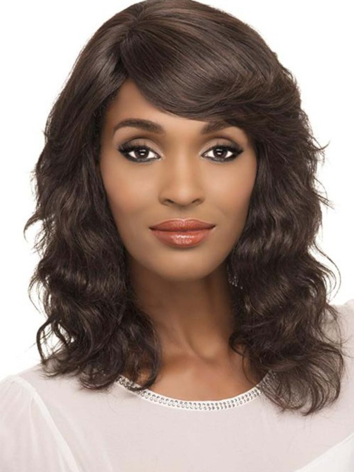 Medium Hairstyles African American Women's Wavy Human Hair Capless Wigs With Bangs 20 Inches 120% Wigs