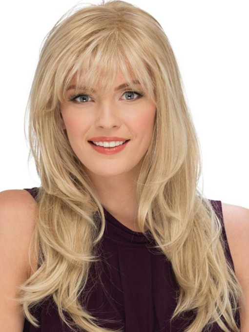 Women's Blonde Color Long Length Natural Straight Human Hair Capless 24 Inches 120% Wigs
