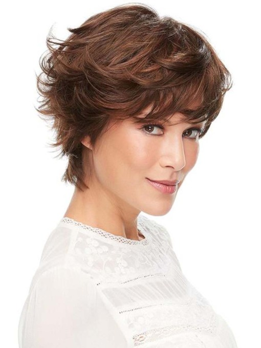 Fashion Women's Short Shaggy Layered Hairstyle Wavy Synthetic Hair Capless 130% 12 Inches Wigs