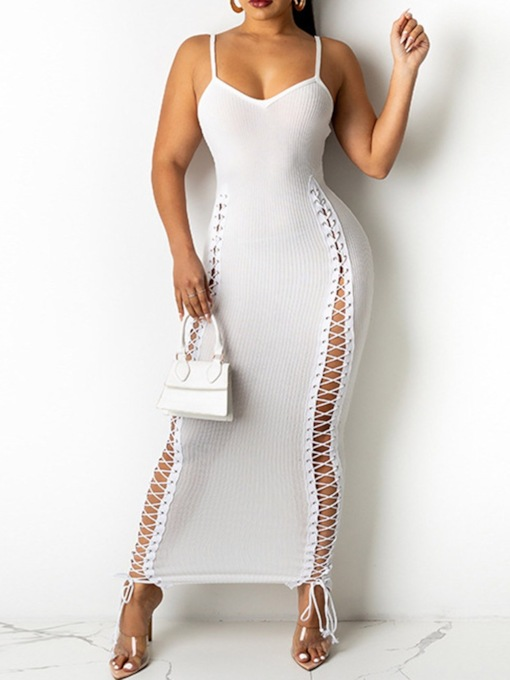 V-Neck Sleeveless Ankle-Length Lace-Up Pullover Women's Dress