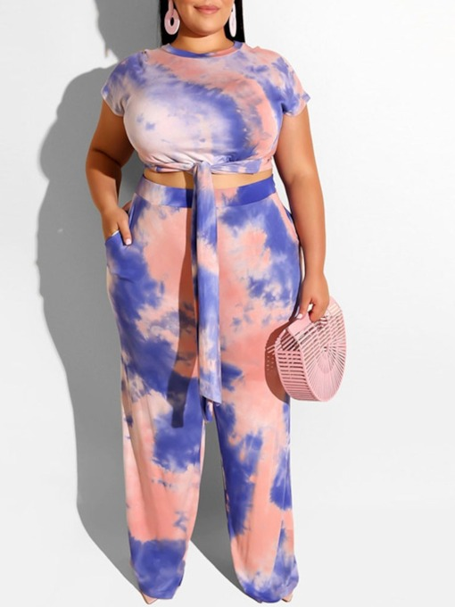 Plus Size T-Shirt Casual Straight Women's Two Piece Sets