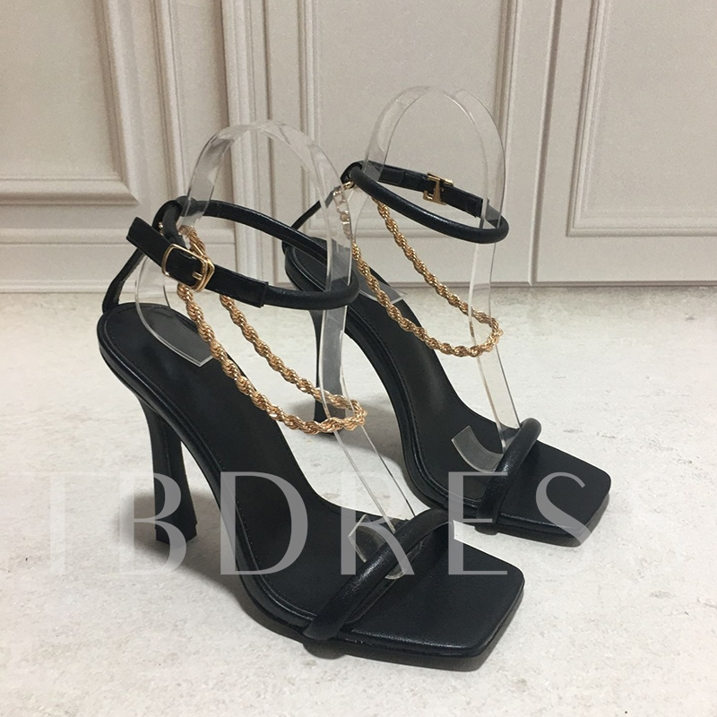 Buckle Square Toe Chain Sandals