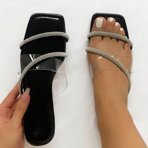 Flip Flop Slip-On Flat With Rhinestone Casual Slippers