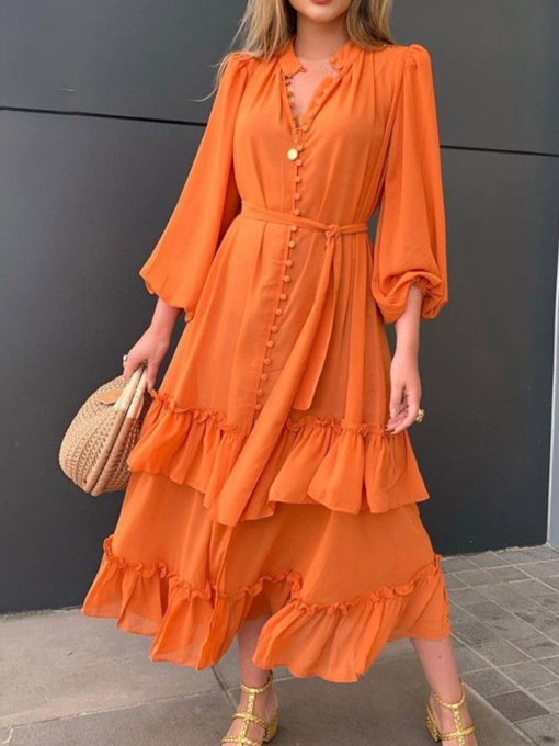 Lace-Up Mid-Calf Nine Points Sleeve Layered Dress Women's Dress