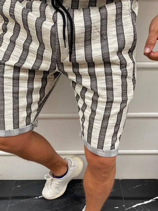 Stripe Straight Shorts Lace-Up Men's Casual Pants