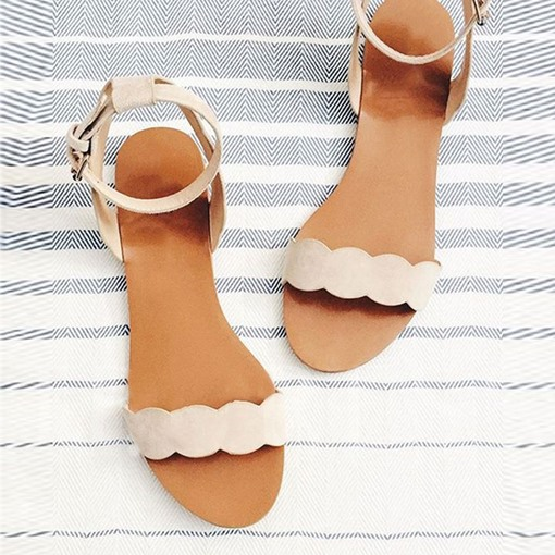 New Simple Line-Style Buckle Flat Sandals