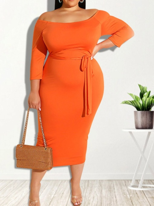 Plus Size Mid-Calf Lace-Up Nine Points Sleeve Bodycon Women's Dress