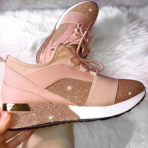 Thread Lace-Up Round Toe Patchwork Sneakers