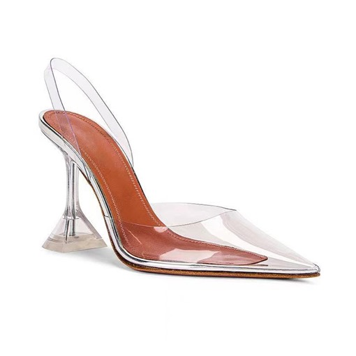 Plus Size Spool Heel Slip-On Pointed Toe See-Through Sandals