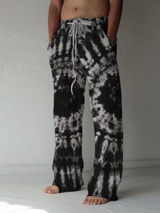 Straight Print Cotton Blends Fall Men's Casual Pants