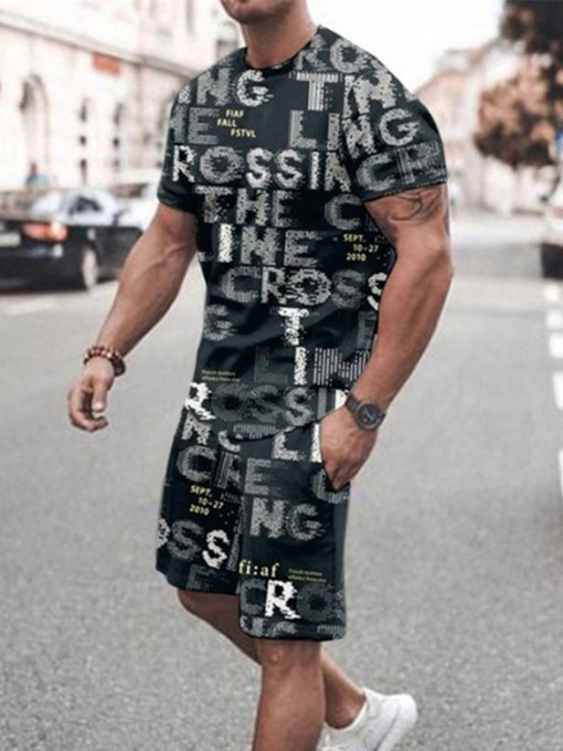 Letter Casual T-Shirt Shorts Pocket Summer Men's Outfit