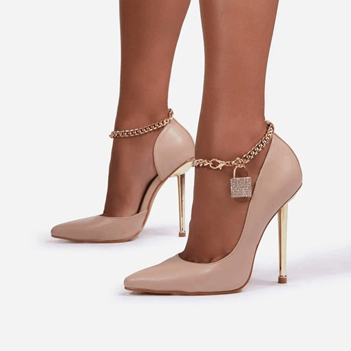 Stiletto Heel Line-Style Buckle Chain Pointed Toe Hip Hop Thin Shoes