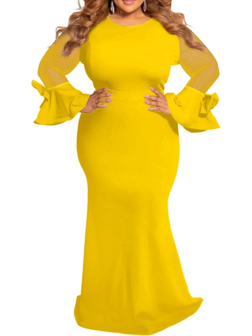 Plus Size Round Neck Floor-Length Long Sleeve Patchwork Pullover Women's Dress