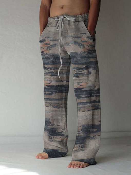 Straight Print Lace-Up Micro-Elastic Summer Men's Casual Pants
