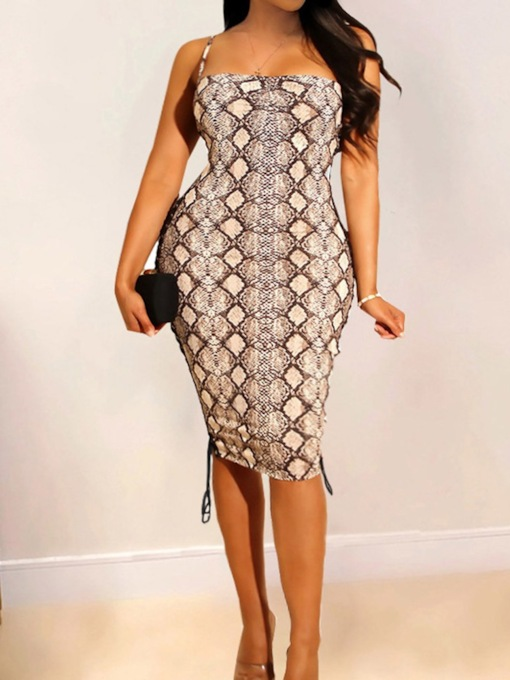 Sleeveless Lace-Up Mid-Calf Square Neck Pullover Women's Dress