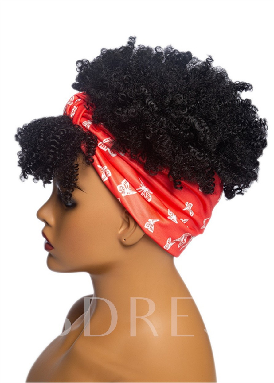 Headbang Wig Afro Curly Synthetic Hair African American Capless 8 Inches 130% Wigs