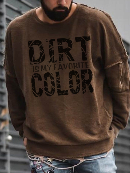 Letter Print Pullover Round Neck Loose Men's Hoodies