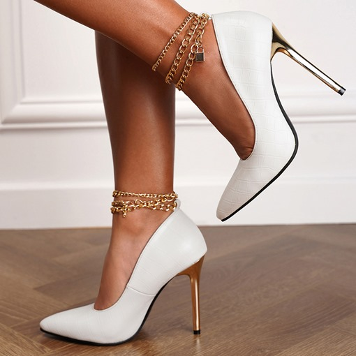 Stiletto Heel Slip-On Chain Pointed Toe Western Thin Shoes