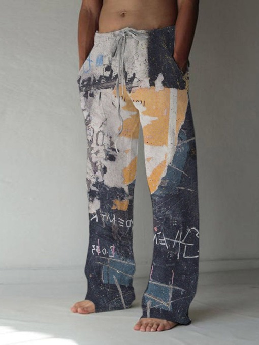 Straight Prints Lace-Up Summer Men's Casual Pants