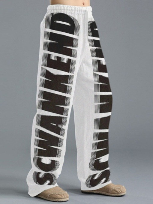 Straight Print Letter Casual Men's Casual Pants