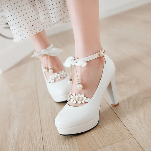 Buckle Round Toe Chunky Heel Appliques High Heel (5-8cm) Thin Shoes