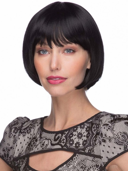 Fashion Women's Short Bob Hairstyles Natural Straight Human Hair Capless Wigs With Bangs 120% 8 Inches Wigs