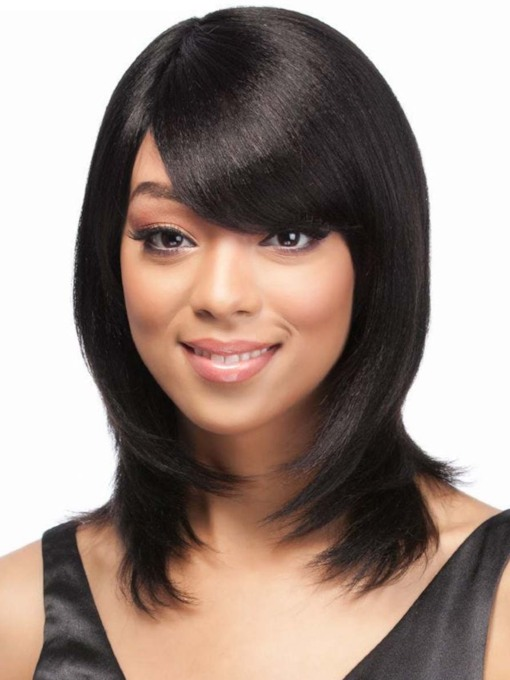 Women's Medium Length Shaggy Hairstyle Straight Human Hair Capless Wigs With Bangs 14 Inches 120% Wigs