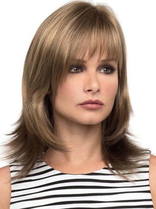 Women's Medium Shaggy Layered Straight Synthetic Hair Wigs With Bangs Capless 130% 16 Inches Wigs
