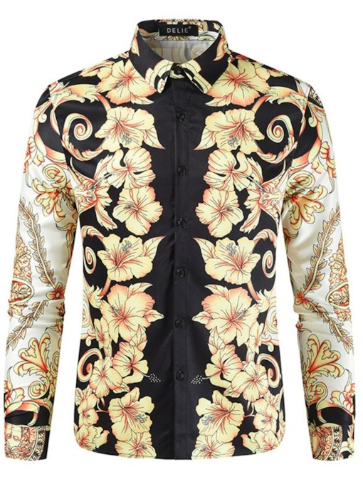 Floral Print Casual Single-Breasted Slim Men's Shirt