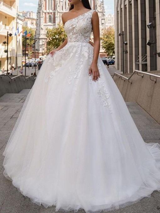 Appliques Ball Gown One Shoulder Floor-Length Tulle Hall Wedding Dress 2021