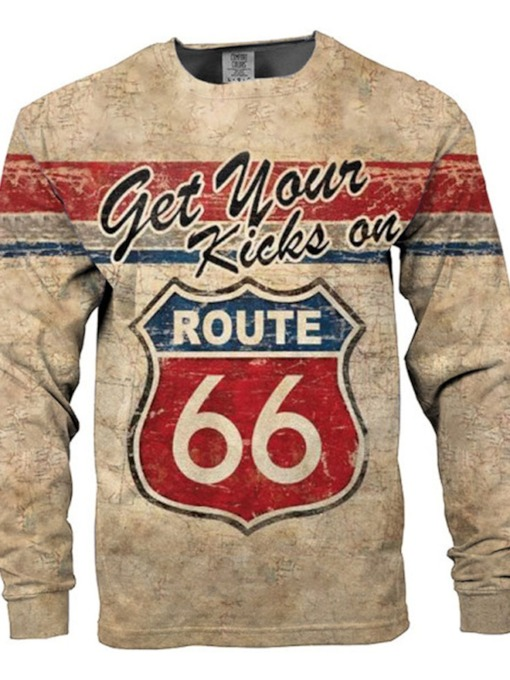 Print Round Neck Casual Letter Long Sleeve Men's T-shirt