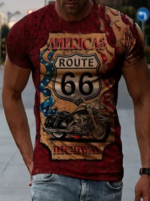 Round Neck Casual Letter Print Slim Pullover Men's T-shirt