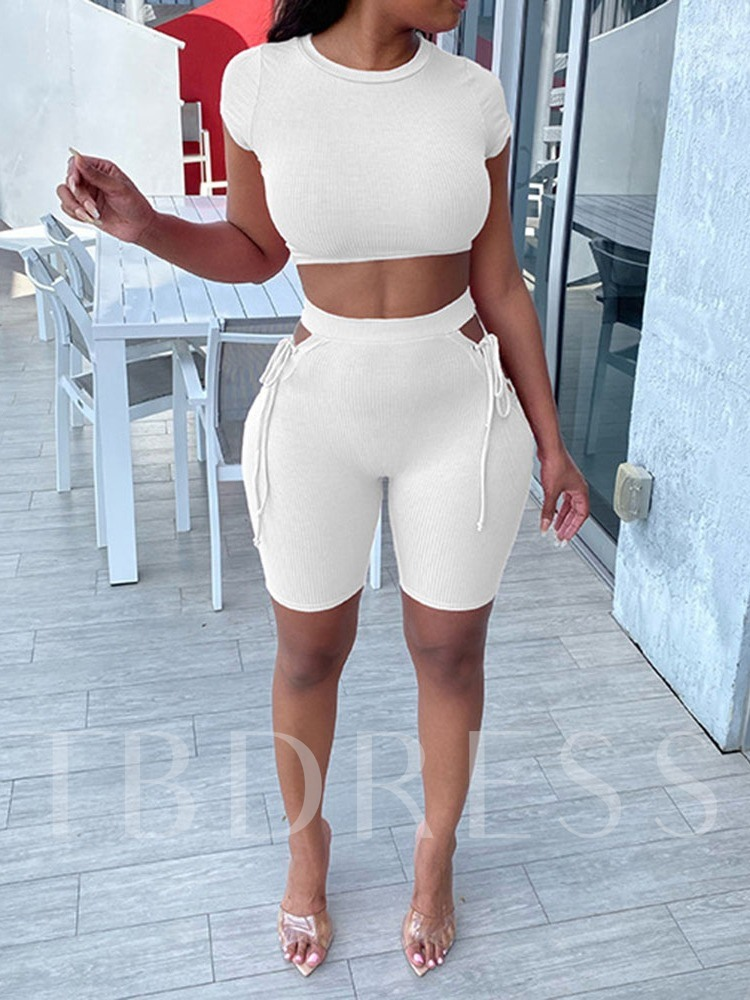 Solid Short Sleeve Shorts Pullover Clothing Sets