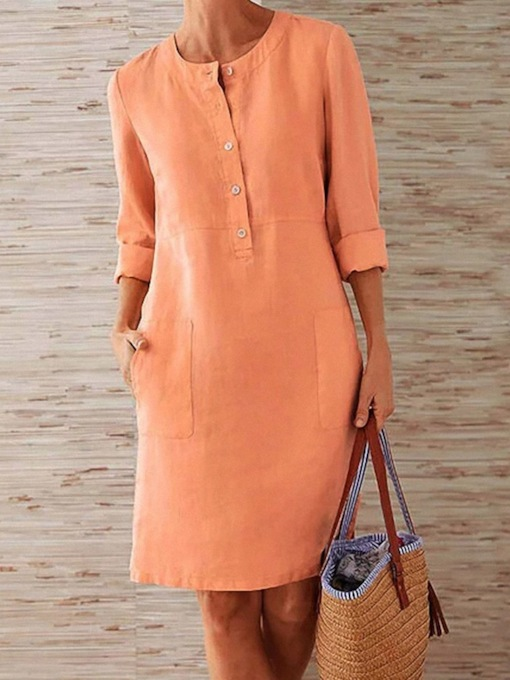 Plus Size Button Round Neck Long Sleeve Above Knee A-Line Women's Dress