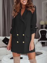 Double-Breasted Plain Notched Lapel Three-Quarter Sleeve Regular Women's Casual Blazer