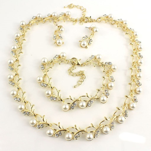 Necklace Pearl Inlaid Sweet Engagement Jewelry Sets