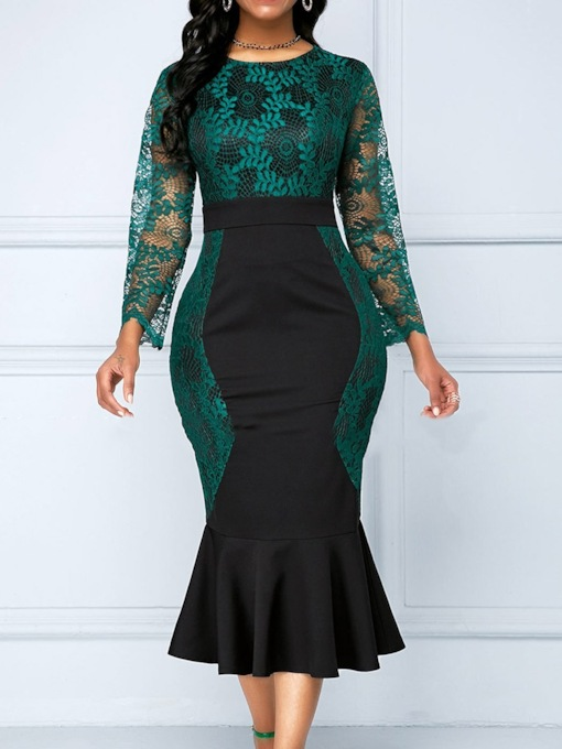 Plus Size Nine Points Sleeve Round Neck Mid-Calf Lace Formal Women's Dress