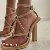 Thong Chunky Heel Buckle Banquet Sandals