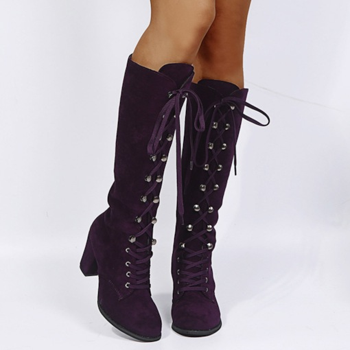 Round Toe Plain Chunky Heel Lace-Up Front Professional Boots