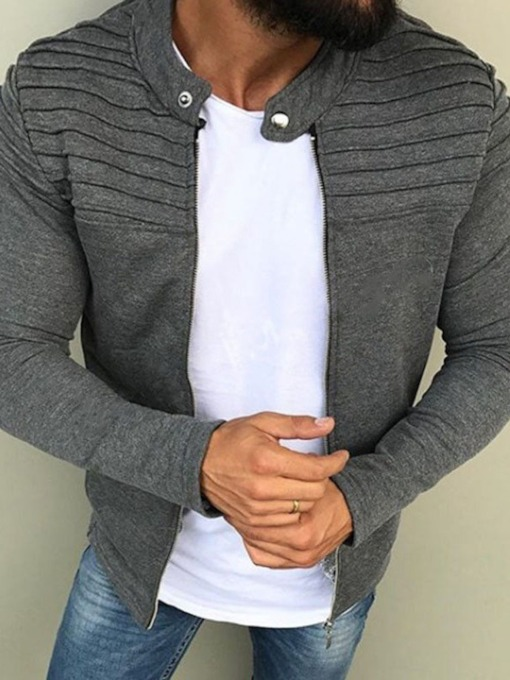 Plain Pleated Stand Collar Spring Men's Jacket