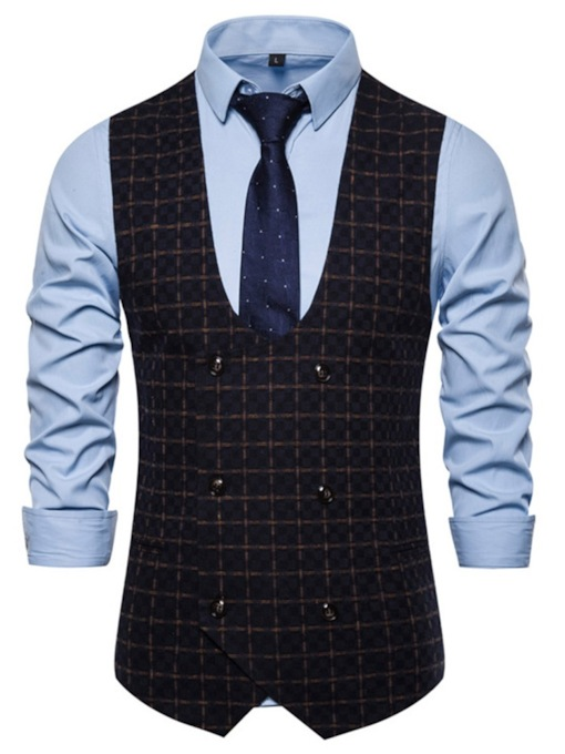 Plaid Cotton Blends Double-Breasted Fall Men's Waistcoat